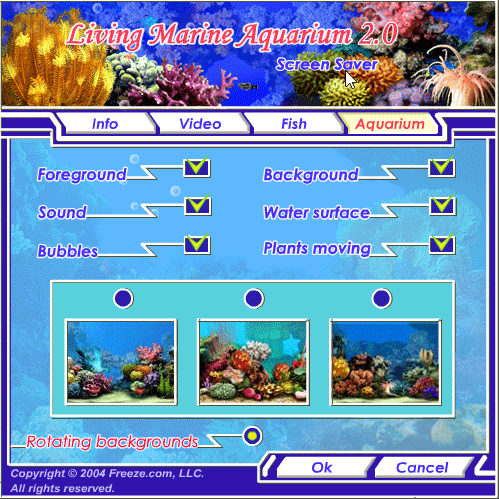 Living Marine Aquarium 2 Full settings panel