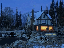 Screenshot of 3D Snowy Cottage
