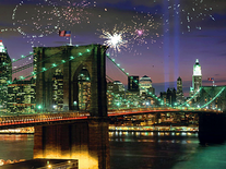 Screenshot of Fireworks on Brooklyn Bridge