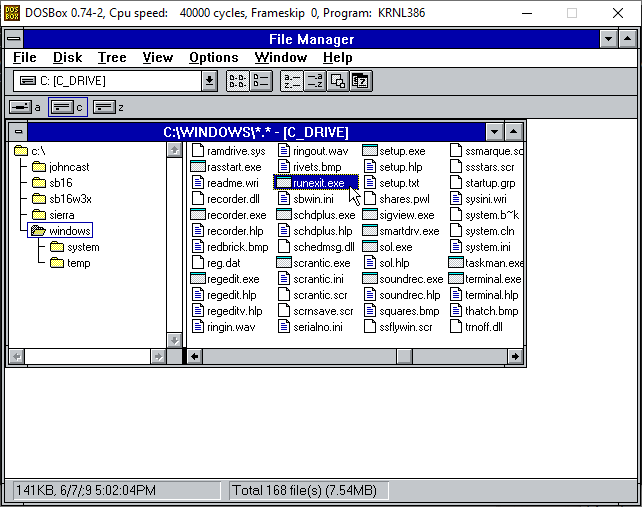 runexit.exe in the Windows 3.1 file manager