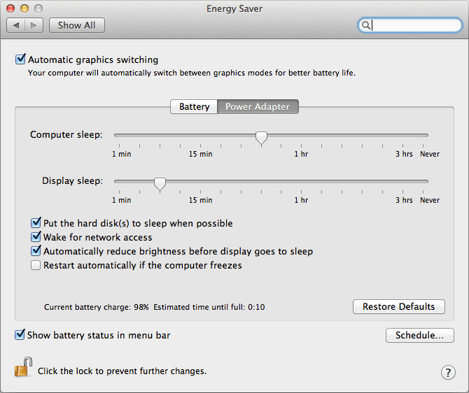 Energy Saver panel in Mac OS X