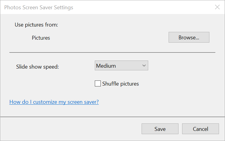 Settings screen for the Photos screen saver on Windows 10