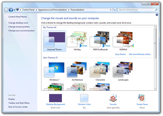 Windows 7 Personalization panel