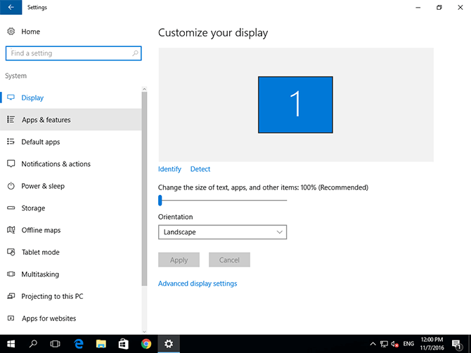 Windows 10 system settings panel with Apps & features highlighted