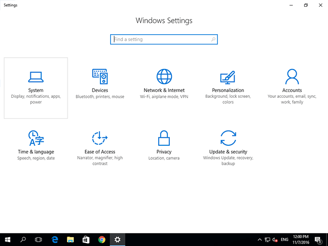 Windows 10 system settings panel