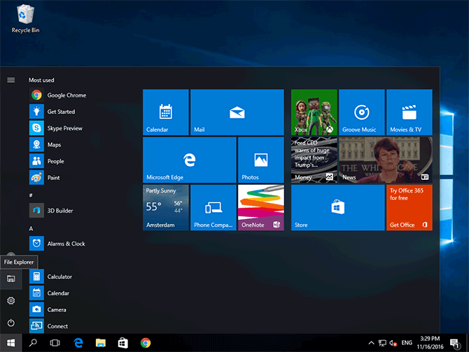 File Explorer shortcut in the Windows 10 Start menu