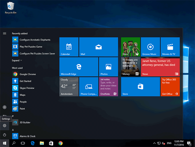 Windows 10 Start menu with Settings highlighted