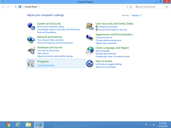 Control Panel on Windows 8 with Programs section highlighted