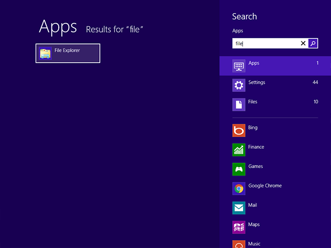 Search results for 'file' in the Start menu on Windows 8