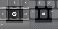 Examples of the Windows key on two keyboards