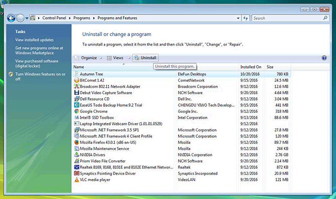Programs and Features panel on Windows Vista