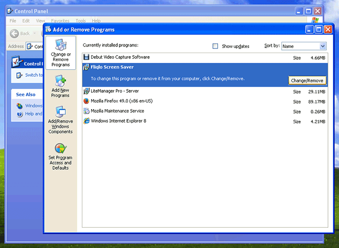 Add or Remove Programs panel on Windows XP