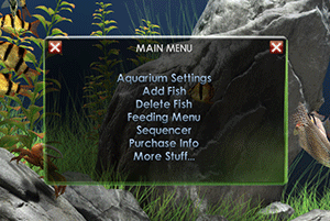 Dream Aquarium settings menu