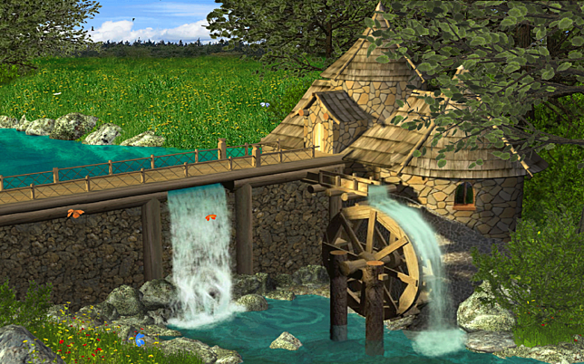 watermill by waterfall 1